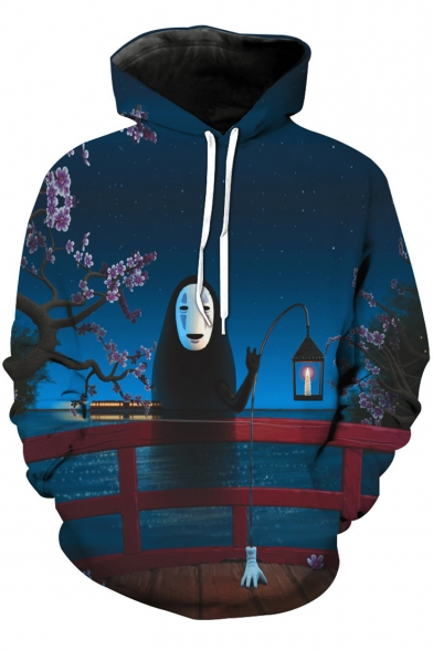 Hoodie Leisure Sakura Pullover Cartoon Starry Night Movie River Bridge Printed Character rwzvrIq