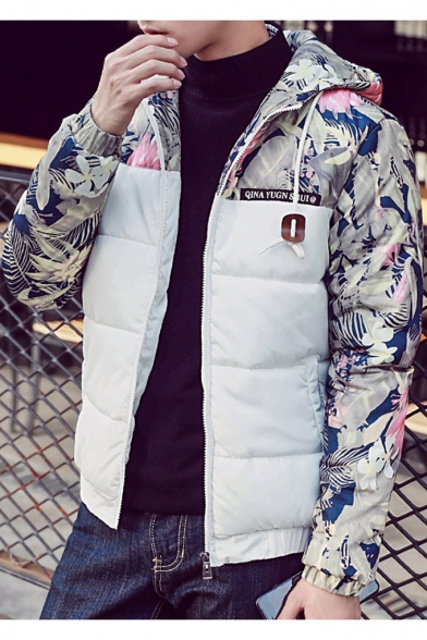 Fashion Pattern Quilted Floral Zippered Men's Jacket Long Pockets with Contrast Hooded Sleeves qHwdUE