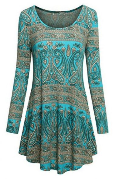 New Arrival Tribal Print Scoop Neck Long Sleeve Swing Mini Dress