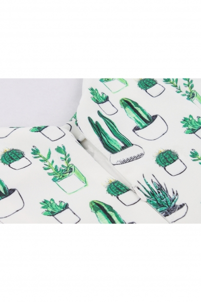 New Fashion Cactus Plant Print V-Neck Sleeveless Fit & Flare Mini Dress