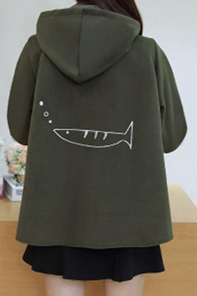 New Trendy Cartoon Print Long Sleeve Single Breasted Loose Hooded Coat