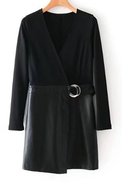 Plain V-Neck PU Panel Long Sleeve Wrap Mini Dress