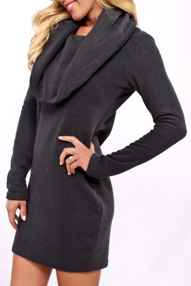 Simple Plain Cowl Neck Long Sleeve Hoodie Mini Dress