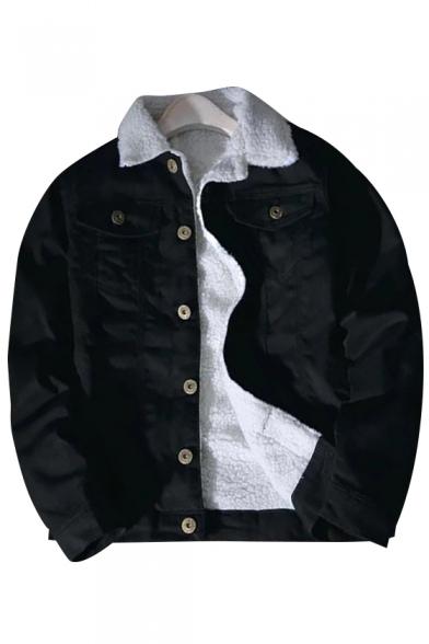 Simple Plain Long Sleeve Single Breasted Denim Jacket for Couple