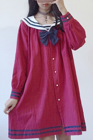 Sleeve Down Simple Shirt Long Bow Dress Navy Collar Striped Mini Buttons Front YW6qSaY