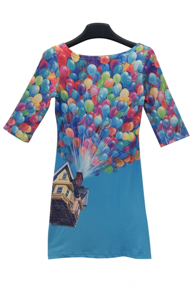 Stylish 3D Balloon Print Scoop Neck Bodycon Mini Dress