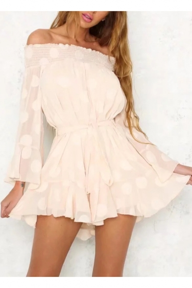 Summer Fashion Off the Shoulder Long Bell Sleeves Polka Dotted Bow Tie Belted Asymmetrical Hem Mini Dress