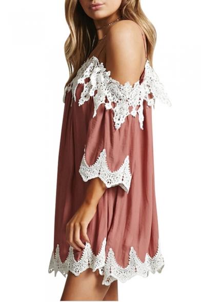 Summer Fashion Spaghetti Straps Lace Panel Mini Cami Shift Dress