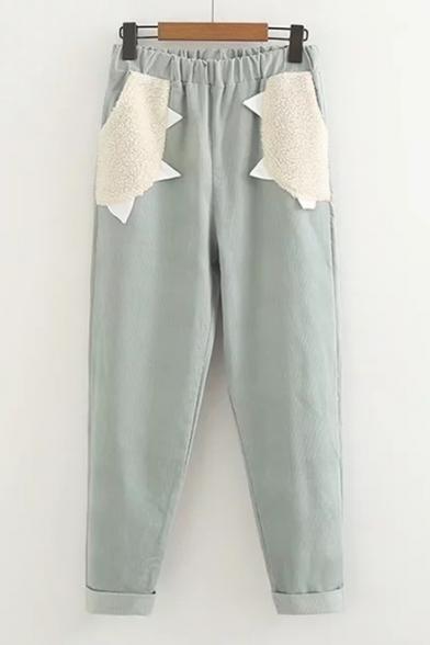 Trendy Color Block Pattern Patchwork Elastic Waist Pants