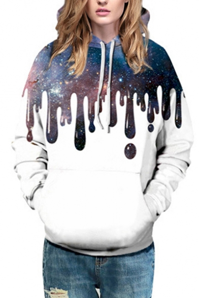 Trendy Flowing Galaxy Color Block Long Sleeves Pullover Hoodie with Pocket