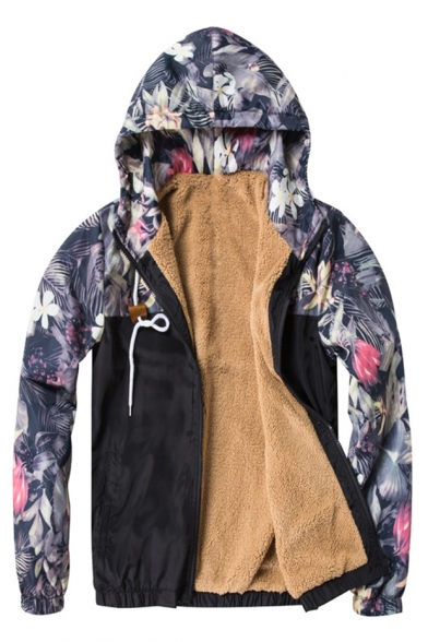 Unisex Floral Pattern Contrast Long Sleeves Elastic Waist Zippered Hooded Fur Padded Jacket