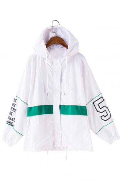 Loose Casual Jacket with Hooded Zippered Letter Pattern amp; Pockets Waist Drawstring Elastic yWn1Y1fq