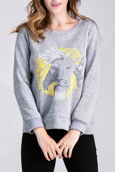 Casual Lion Graffiti Pattern Round Neck Long Sleeves Pullover Sweatshirt