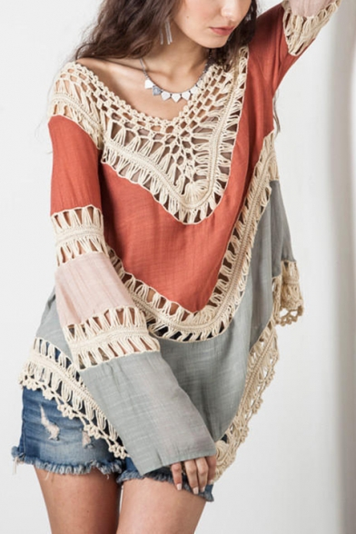 Print Neck Cover Up Block Long Chic Color Hollow Out Sleeve V gaqxOYR