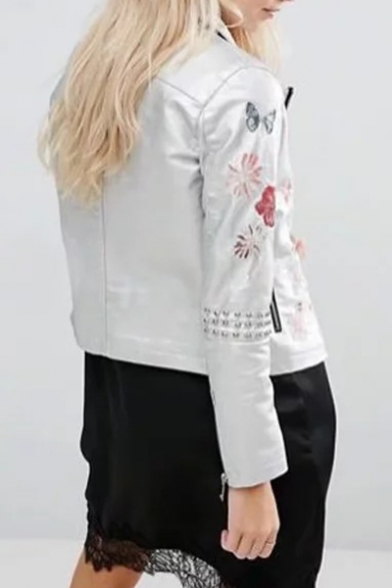 Chic Floral Embroidery Notched Lapel Long Sleeves Zippered Biker Jacket with Rivets