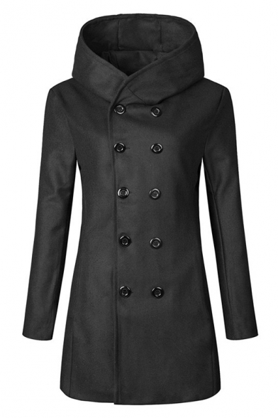 Breasted Long Sleeve Trench Chic Simple Coat Double Plain qwFnITPt