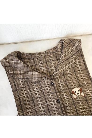 Cute Tartan Plaids Dog Embroidery Sleeveless Navy Collar Mini Belted Smock Dress