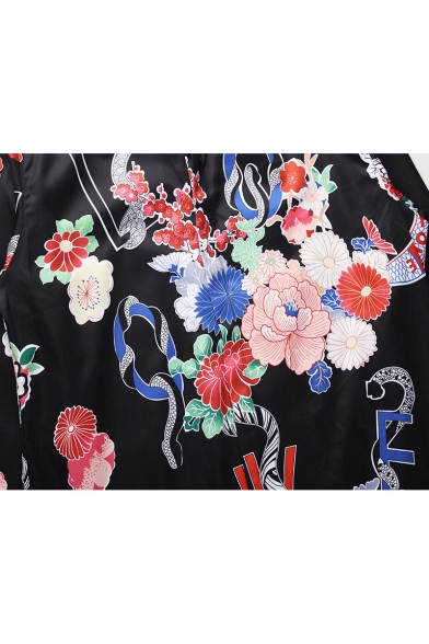 Ethic Floral Printed Point Collar Long Sleeves Button Down Shirt