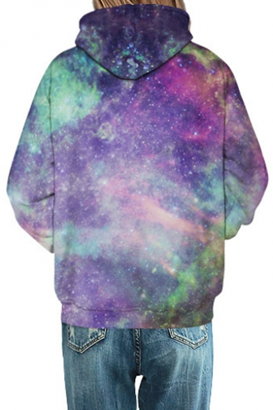 Galaxy Hoodie Sleeve Fashion Long Print Loose fpgqzzHdw
