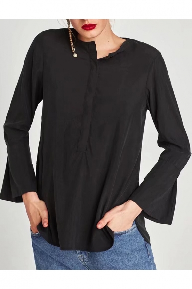 Fashion Round Neck Long Sleeve Flared Cuff Simple Plain Blouse