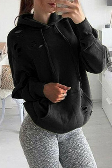 Hoodie Leisure with Pocket Hollow Cutout Plain Ripped Sleeves Long Pullover 8w8qH