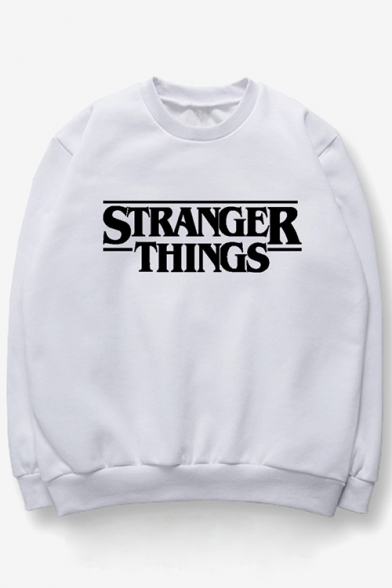 Leisure Letter Printed Round Neck Long Sleeves Pullover Casual Sweatshirt
