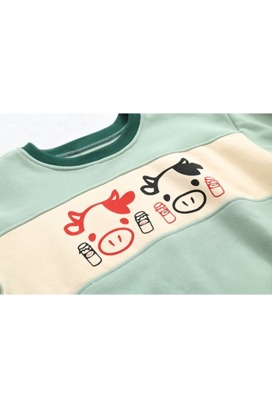 Neck Dropped Print Cartoon Color Sweatshirt Pullover Round Block Shoulder Cow Lovely Z1q7x6Hwn