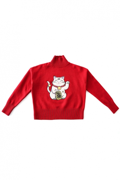 Casual Lovely High Pattern Sweater Neck Long Sleeve Cat Girls' wqZ6q0f1x