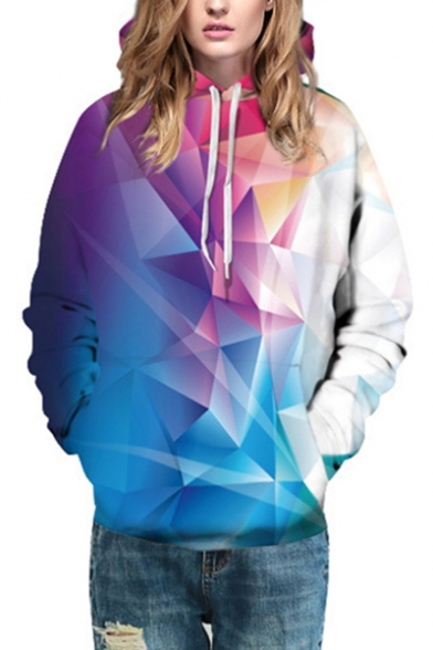 Sleeves Geometric Pocket Block Long Color Pattern with Ombre Hoodie Pullover XfBAqOqw