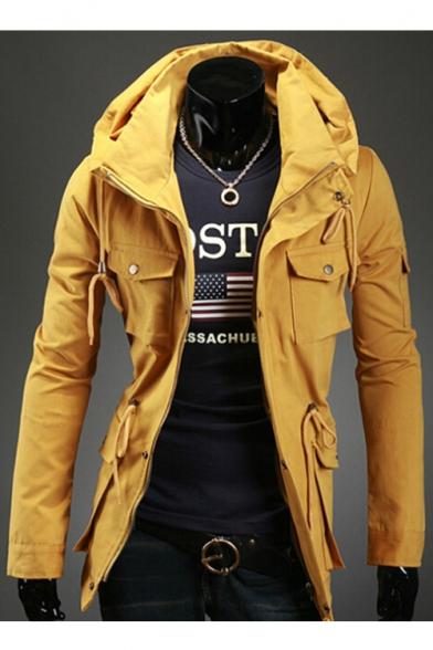 Popular Plain Long Sleeves Zippered Utility Jacket with Pockets & Drawstrings