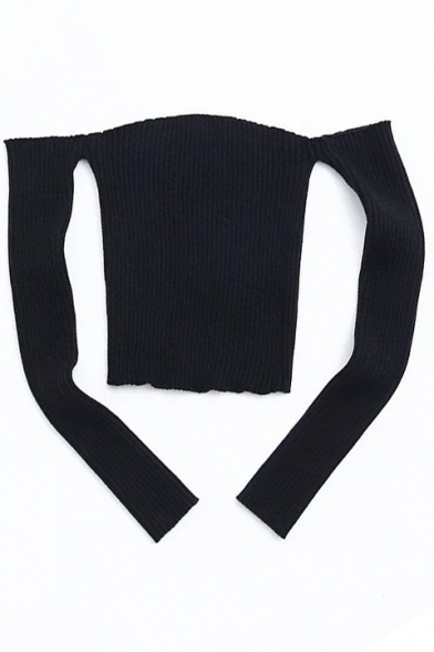 Sexy Plain Cold Shoulders Pullover Long Sweater Slim Fit Sleeves Cropped rvrwq