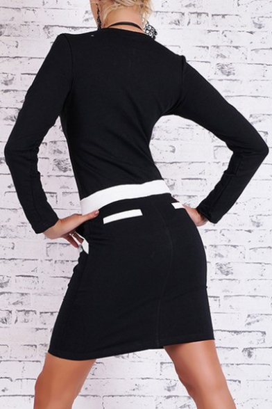 Sexy Color Block Zipper-Front Long Sleeves Drawstring Waist Mini Pencil Dress