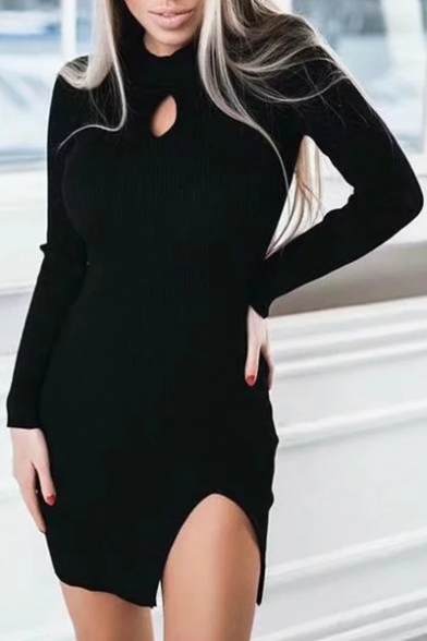Simple Cutout Detail Round Neck Long Sleeves Split Hem Bodycon Mini Sweater Dress
