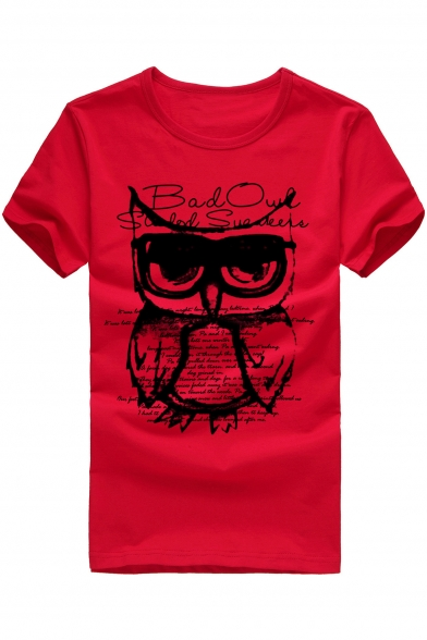 Letter Short Neck Round Stylish Sleeve T Print shirt Owl amp; qPOWC5p