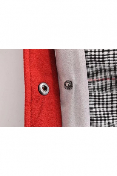 Stylish Tartan Plaids Color Block Button Embellished Elastic Waist Wide Leg Pants
