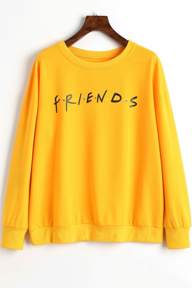 Trendy FRIENDS Letter Dotted Pattern Round Neck Long Sleeves Pullover Sweatshirt