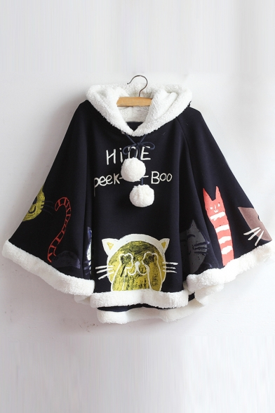 Adorable Cats Letter Graphic Printed Faux Fur Hooded Cape with Pompons