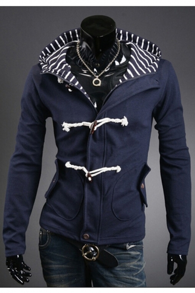 Casual Long Sleeves Striped Padded Hooded Zippered Double Buttons Jacket with Flap-Pockets