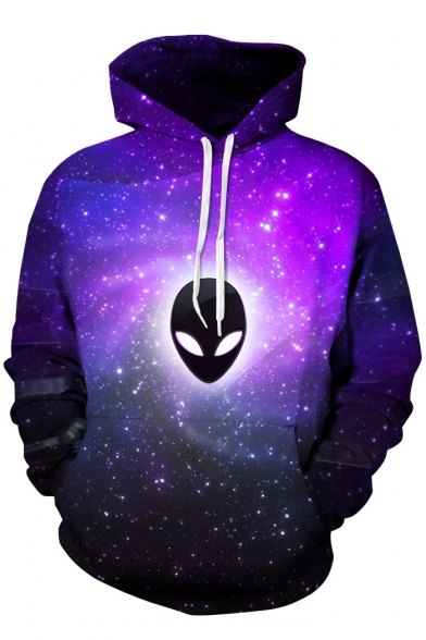 Sleeves Chic Long Hoodie Galaxy Printed with Pocket Pullover Alien UvqgU1T