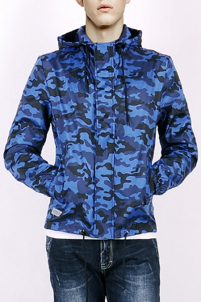 Chic Camouflage Print Long Sleeve Zipper Hooded Windproof Coat