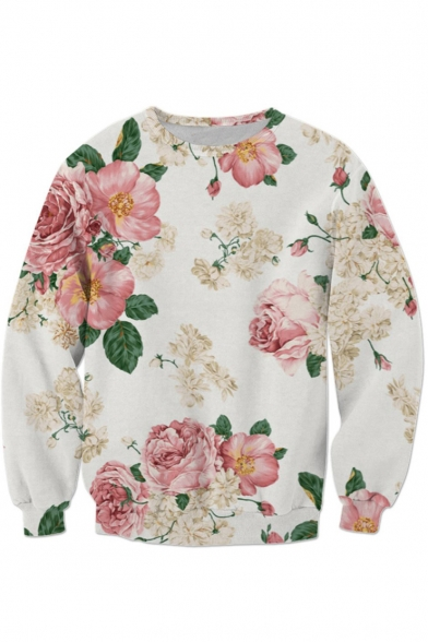 Chic Floral Print Round Neck Long Sleeve Leisure Pullover Sweatshirt