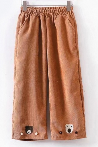 Cute Bear Pattern Elastic Waist Wide Leg Pants