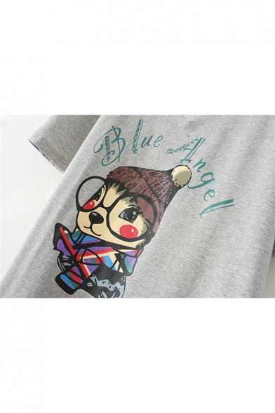Cute Cartoon Print Ripped Back V-Neck T-Shirt Dress