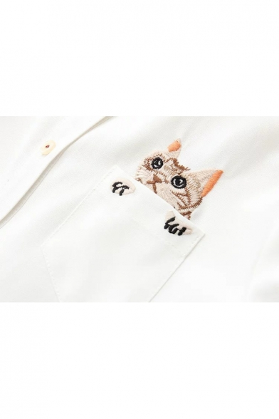 Cute Cat Embroidery Button Down Point Collar Long Sleeves Shirt