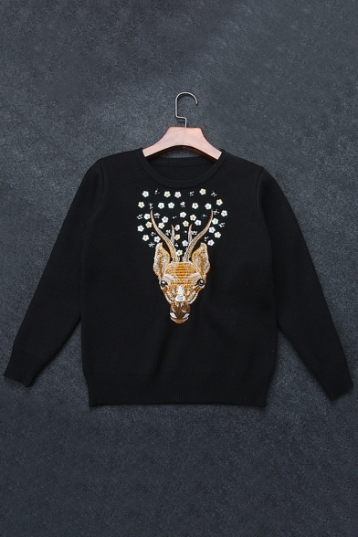 Neck Sweater Pullover Sleeve Long Embroidered Deer Round Floral Sequined Pattern q1a0zw
