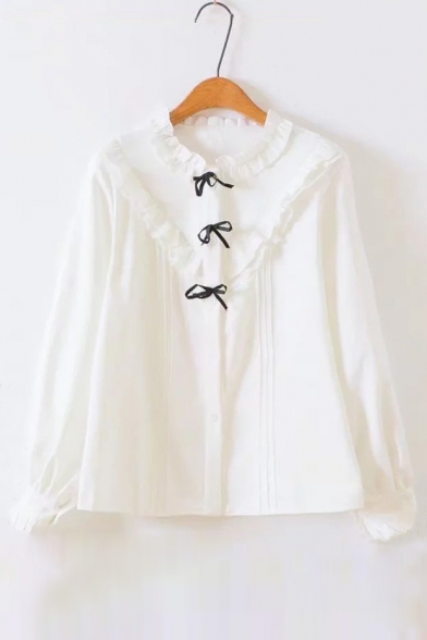 Button Lace Down Insert Ruffle Long Blouse Bow Pleated Sleeves Elegant Neck xafOqwU