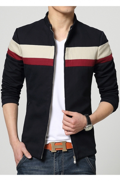 Fashionable Color Block Long Sleeves Zippered Casual Jacket with Zip-Pockets