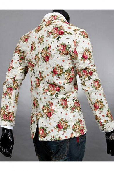 Single Floral Fashionable Print Long Blazer Notch Split Back Button Lapel Sleeve dSESw1q