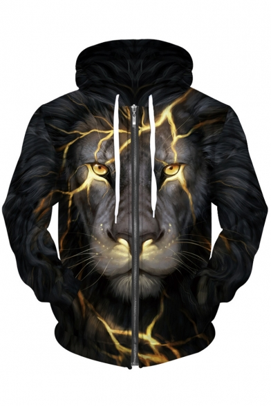 Fashionable Lion Lightning Pattern Long Sleeves Zippered Hoodie with Pockets