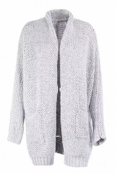 Fashionable Simple Long Open Cardigan Sleeve Tunic Plain Front rwIRrHOq